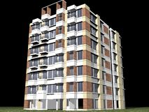 Modern high rise building. 3d illustration of modern high rise building or tower block with black background Royalty Free Stock Photography