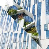 Modern High-rise Building From Architect Libeskind With Space For Plants And Trees In Facade In Dusseldorf, Germany Stock Photo