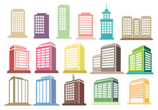 Modern High Rise Buildings Vector Icon Set Royalty Free Stock Images