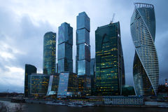 Modern high-rise complex `Moscow-city` in the April twilight. Evening Moscow Royalty Free Stock Photos