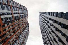 Modern high-rise residential buildings. Bottom view stock photography