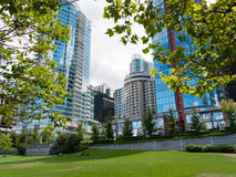 Modern high rises at Vancouver downtown. Modern luxury apartment buildings in downtown Vancouver blending urban living with a park like setting Stock Images