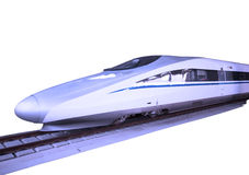 Modern high speed bullet train on track Stock Images
