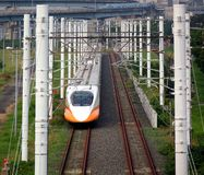 Modern High Speed Railway Bullet Train royalty free stock photos