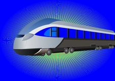 Modern high-speed train. On a blue background Stock Photography