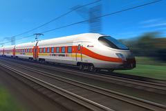 Modern high speed train. With motion blur effect Stock Photos