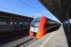 Modern high-speed train `Lastochka`. Little Ring of the Moscow Railways, is a 54.4-kilometre-long orbital railway.Russia Stock Photography