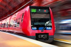 Modern high speed train with motion blur Royalty Free Stock Images