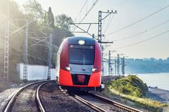 Free Modern High-speed Train Moves Along The Black Sea Coast Stock Images - 161373244