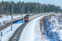 Modern high-speed train. Moves fast at day winter time Stock Image