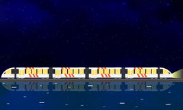 Modern high speed train. Night starry sky. Royalty Free Stock Photos