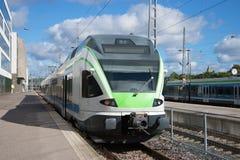 Modern high-speed train at the platform of the railway station. Helsinki Stock Image