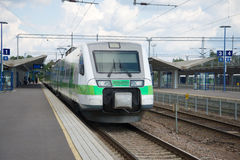 Modern high-speed train at the platform of the station Kouvola Royalty Free Stock Photos
