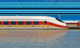 Modern high speed train at the railway station royalty free illustration