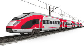 Modern high speed train. Railway transportation and railroad industry concept: red modern high speed electric streamlined fast train on rail track isolated on vector illustration