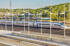 Modern high speed train is ready at the platform. Royalty Free Stock Photos
