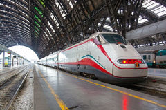 The modern high-speed train at the station. Stock Photos