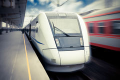 Modern high speed train waiting for departure. In railway station Royalty Free Stock Photos
