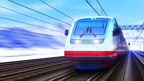 Modern high speed train in winter Royalty Free Stock Images