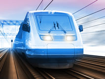 Modern high speed train in winter Stock Photo