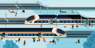 Modern high speed trains stopped at railway station and people standing and walking on platform covered by snow. Passenger rail transport, railroad royalty free illustration