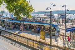 Modern high-speed tram on the streets of Istanbul. Turkey. Royalty Free Stock Photography