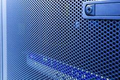 Modern high tech internet data center. Close up door supercomputer with blur . Concept. Stock Image