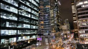 Financial discrict downtown Vancouver Canada timelapse. Modern highrise buildings road cars time lapse background stock footage