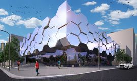 Modern hightech expo centre. Building stock image