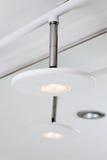 Modern hightech LED lamp. Modern hightech white LED lamp shade stock photo