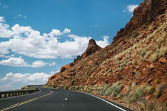 Modern Highway in Arizona, United States. US highway 89. Journey to the south of the USA. Modern roads and stone landscapes of Utah, Nevada and Arizona Royalty Free Stock Images