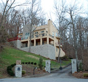 Modern Hillside Stone Luxury Home 36 royalty free stock photography