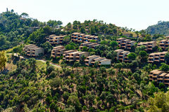 Modern hillside suburban houses in Cala Giverola Royalty Free Stock Photography