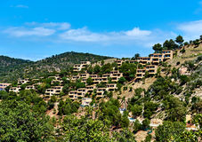Modern hillside suburban houses in Cala Giverola Royalty Free Stock Images