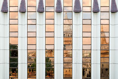 Modern Hilton Hotel in Budapest. BUDAPEST, HUNGARY - AUGUST 4, 2016: Fisherman`s Bastion is mirrored on shining windows of modern Hilton Hotel in Budapest Stock Photography