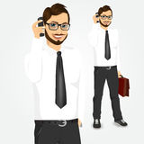 Modern hipster businessman talking on the phone Stock Photos
