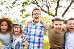 Modern Hipster Children Outdoors Concept.  Royalty Free Stock Images