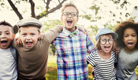 Modern Hipster Children Outdoors Concept. Children Modern Hipster Outdoors Concept Royalty Free Stock Photography