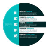 Modern hipster layout with five options in circle. EPS10. Stock Images
