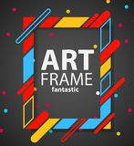 Modern hipsters frame for text. Dynamic geometric frame on black background. Business cards, invitations, gift cards Royalty Free Stock Photography
