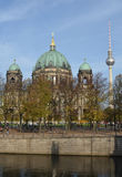 Modern and historic architecture. The cathedral and the television tower in Berlin Royalty Free Stock Photo