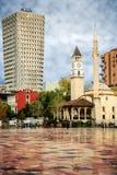 Modern and Historical Tirana. Tirana, Albania. November 12, 2017: Newly reconstructed city central Skanderbeg square, citizens walking at pedestrian zone Royalty Free Stock Photography