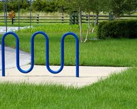Modern Hitching Rail. Bicycle Rack by the parking lot at Largo Central Park, Largo Florida Stock Image