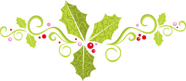 Modern holly banner. A colorful embellishment featuring swirls, holly sprigs, and berries stock illustration