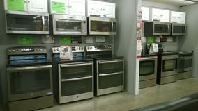 Modern home appliance selling. Home appliance selling at store Home Deport , USA Stock Image