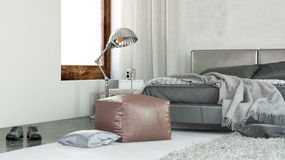 Modern Home Bedroom with Ottoman and Lamp Stand Stock Photos