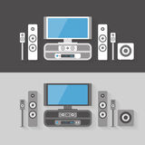 Modern Home Cinema Entertainment with two color kits Royalty Free Stock Photos