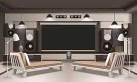 Modern Home Cinema Interior 3D Design Royalty Free Stock Image