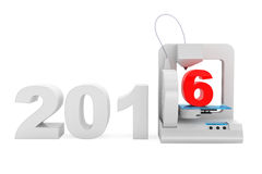 Modern Home 3d printer print New 2016 Year Sign. On a white background vector illustration