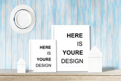 Modern home decor mock-up, Black frame with place for text. Mock up Stock Images
